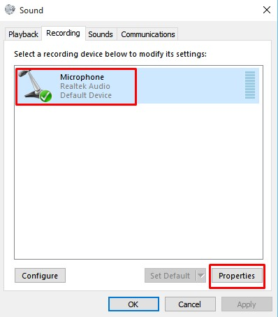 Select the microphone and click on 'Properties'
