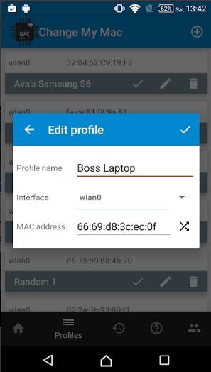 Edit existing profiles