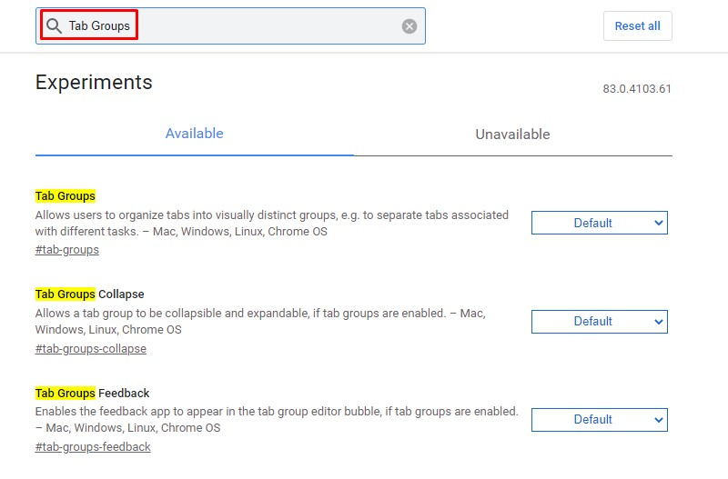 Search for 'Tab Groups'