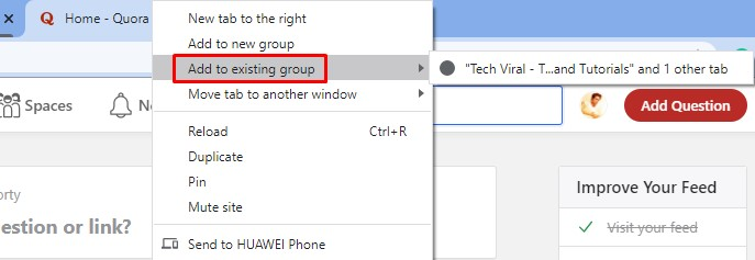 Assign another tab to the existing group