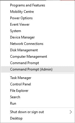 Select 'Command Prompt (Admin)'