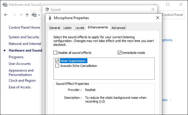 On the 'Enhancement' tab, enable 'Noise suppression'