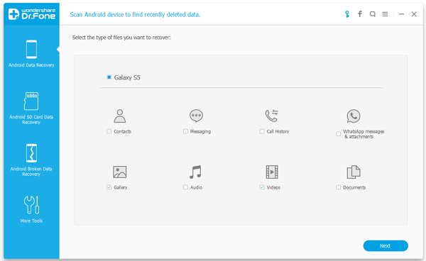 Select the file type and click on 'Next'