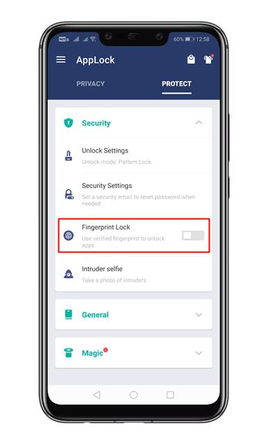 Enable the 'Fingerprint Lock' option